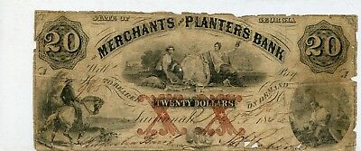 Savannah, GA- Merchants and Planters Bank $20 June 7, 1859
