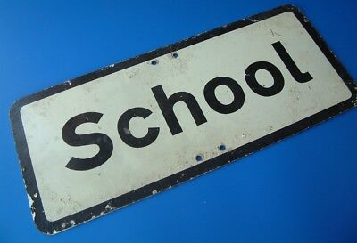 "'School' Road Sign - Vintage 1970's - 21""/53cm by 9""/23cm"