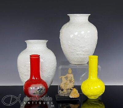 Lot Of Old Chinese Porcelain Glass Vases + Soapstone Carving Etc