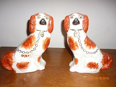 Pair Antique Staffordshire Dogs