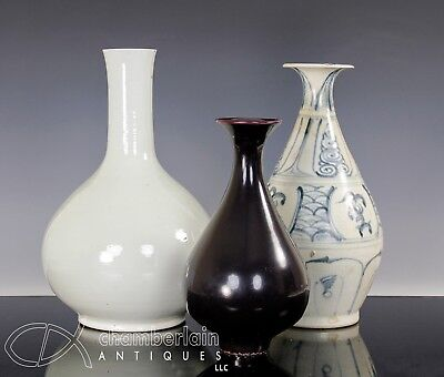 Interesting Lot Of Three Old Chinese Asian Porcelain Vases