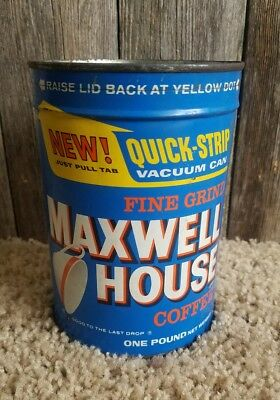 Vintage Maxwell House 1 Pound Coffee Can Tin Fine Grind