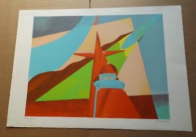Osvaldo PERUZZI abstract lithograph propaganda vintage art print sign # orig BIG