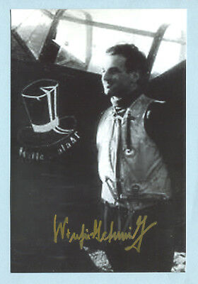 Luft Fighter Ace Knights Cross Signed Pic - Schmidt