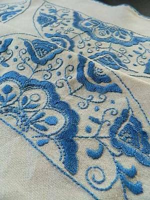 Lovely vintage hand embroidered Irish linen octagonal tablecloth.