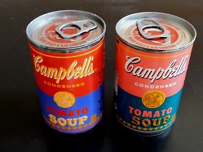 Set Of Two Campbells Tomato Soup Andy Warhol Pop Art Limited Ed 50Th Anniv