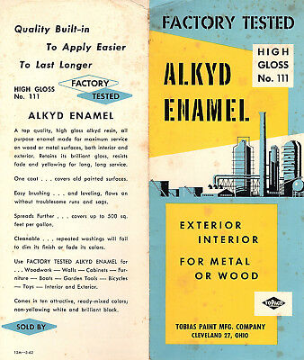 Alkyd Enamel Vintage 1962 Brochure & Color Chart Tobias Paint Mfg Co. Cleveland
