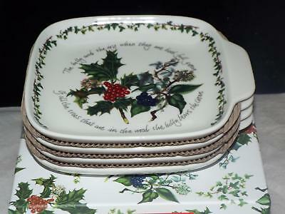 SET OF 4 Portmeirion Holly & Ivy CANAPE DISH PLATES New & Boxed.