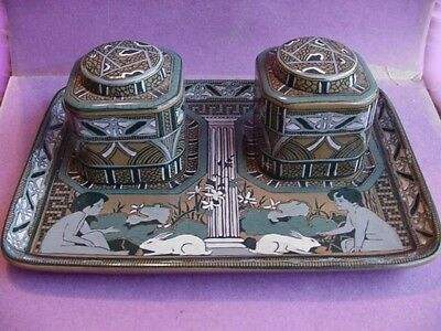 1911 Buffalo Art Pottery Deldare Emerald Ware Double Inkwell Rabbits & Youths