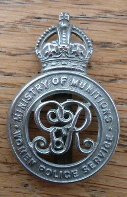 Minisry of Munitions - Women Police Service Hat Badge Suffragette WW1