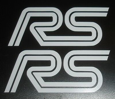 2x RS cut vinyl sticker - White - Ford RS Rally Sport Racing Decal