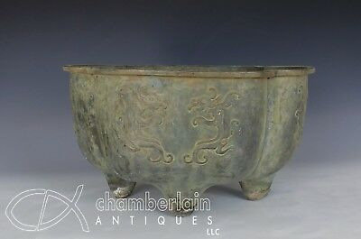 Massive Large Old Chinese Bronze Planter Pot With Relief Dragons
