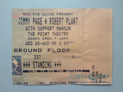 1998 Jimmy Page Robert Plant Of Led Zeppelin Concert Ticket Memorabilia Dublin