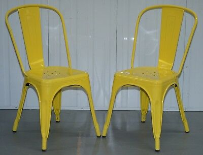 Pair Of Rrp £197 Each Xavier Pauchard Tolix Metal Stacking Chairs In Yellow
