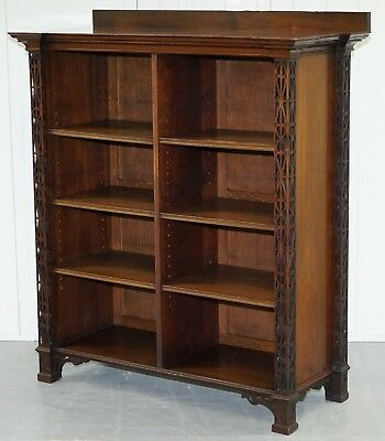 Very Rare Antique Chinese Thomas Chippendale Fretwork Carved Mahogany Bookcase