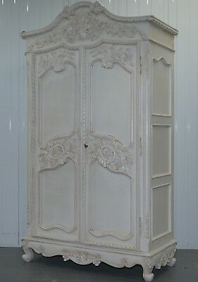 Stunning Very Large Grand French Shabby Chic Hand Carved Wardrobe 226Cm Tall