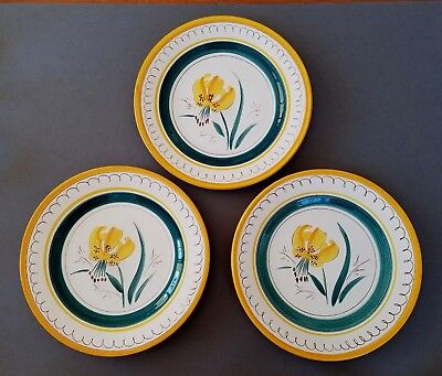 """Immaculate! Vintage Stangl """"garden Flower"""" Yellow Tiger Lily 9"""" Luncheon Plates"""