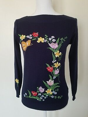 Cyn Les Women's Size Large Sweater Navy Blue Embroidered Flowers Butterfly Vtg