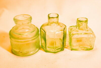 Vintage 1800S Small Inkwell Glass Bottles Lot