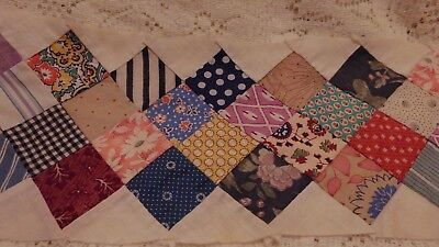"""Antique Feed Sack Postage Stamp Quilt Border Strips 70"""" Lot of 9  Hand Stitched"""