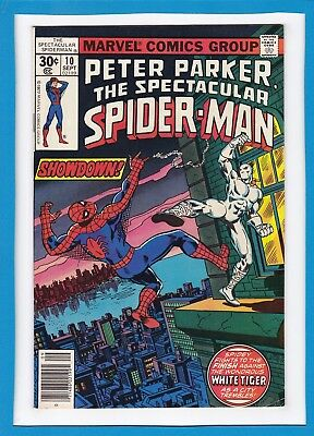Peter Parker, The Spectacular Spider-Man #10_Sept 1977_Vf Minus_White Tiger!