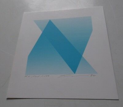 Michio TAKEHARA abstract LITHO OP ART vintage pop orig 1984 signed # Meissner