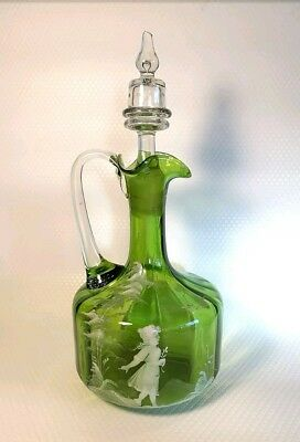 Magnificent Antique 1884 Victorian large green Mary Gregory glass decanter