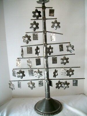 Large Antique Tin Folk Art Primitive Tree With Ornaments