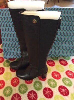 d6bd7bc7536a New Tory Burch Sullivan Coconut Brown Tall Heeled Leather Boots Elastic 5.5