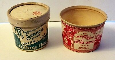 2 Vintage Cottage Cheese Dairy Containers Schiller Seneca Dairy Syracuse Indian