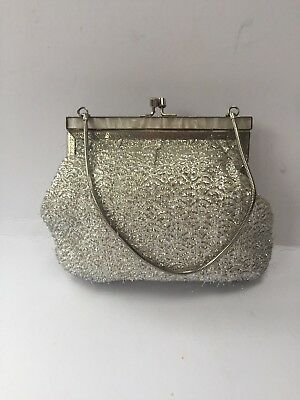 Antique/Vintage Silver Thread & Mother of Pearl Clasp Evening/Cocktail Handbag