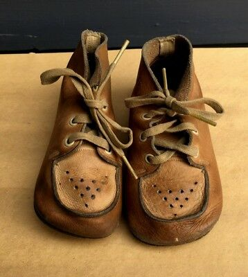 """Vintage brown soft leather tie up baby toddler doll shoes 1940's 1950's 5"""" long"""