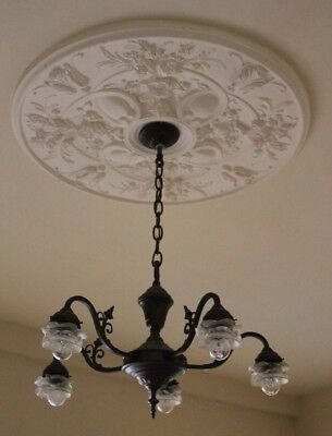 """Antique Vintage 5 Arm French Cafe-Style Chandelier 24"""" wide Downlighter"""