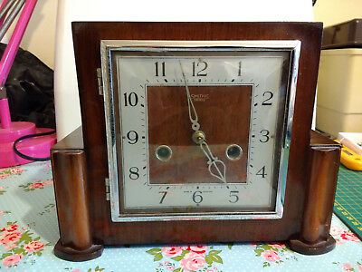 Vintage Smiths Wooden Mantle Clock In Good Working Condition With Original Key.