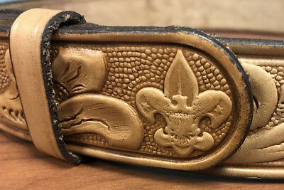 Vintage BSA Boy Scouts of America Hand Tooled Leather Belt Size 34 - 36 Eagle SC