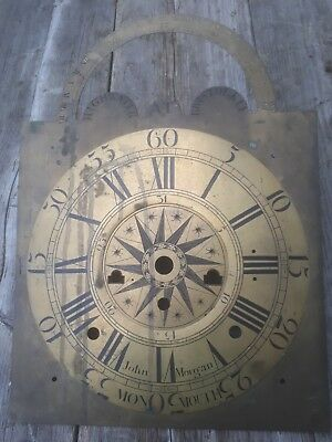 Rare Longcase Brass Clock Dial John Morgan Monmouth Shows High Water Bristol Key