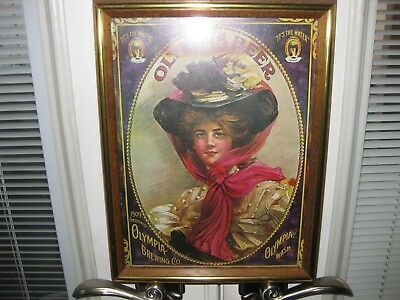 Olympia Beer Glass Picture Bar Sign Big Blue Eyed Lady Wood Frame It's The Water