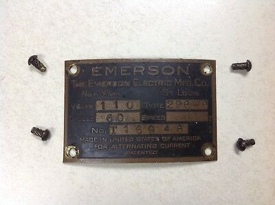 Vintage Antique Original Emerson Electric Fan Motor ID Tag Plate Type 29646