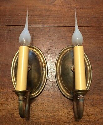 Matched Wired Pair Brass Wall Sconce Fixtures 3B