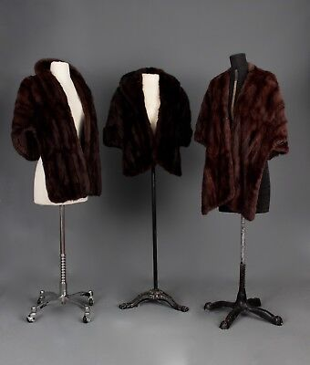 Lot Of Three Real Fur Vintage Wraps, Stole, Jacket Scarf