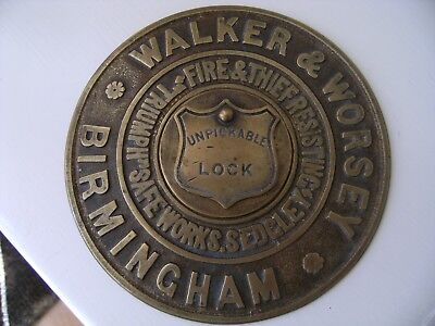 Antique Walker & Worsey Birmingham Solid Brass Safe Plate with Unpickable Lock
