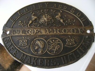 Antique E Lumby & Son Halifax Paris 1878 Brass Safe Plate