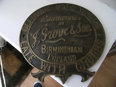 Antique F Grove & Son Birmingham Solid Brass Safe Plate