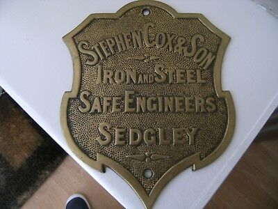 Antique Stephen Cox & Son Sedgley Solid Brass Safe Plate