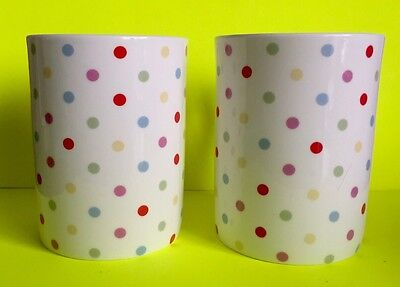 Matching Pair Of Laura Ashley Fine Bone China Polka Dot Mugs