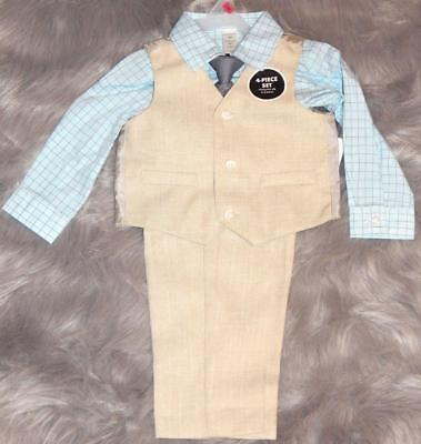 18 months New Tan Boys 4 Piece Suit and Tie Special Occassion Church Wedding Set