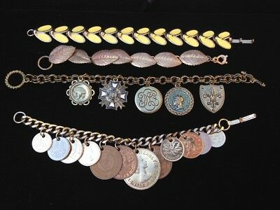 Lot of four vintage bracelets, international coin charm, shield charms, other