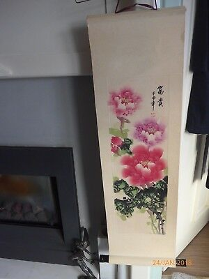"""Hand Painted Asian Scroll - Peony Floral Design On Bamboo Paper- 34"""" Long X 10"""""""