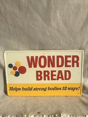 Vintage Original Old Wonder Bread Metal Advertising Sign