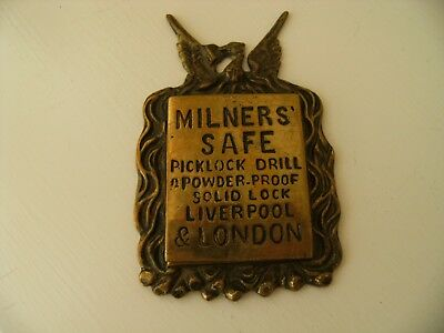 Antique Milners Key Safe Lock Liverpool London Solid Brass Safe Lock